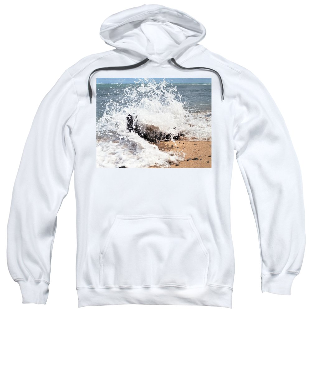 Driftwood Sweatshirt featuring the photograph Oahu North Shore Splash by John Bowers