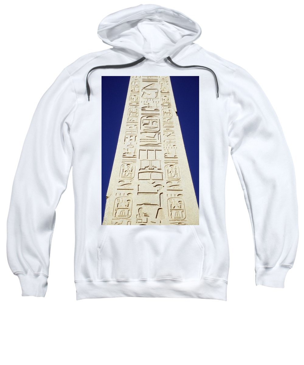 Writing Sweatshirt featuring the photograph Obelisk Of Tuthmosis IIi And Blue Sky by Axiom Photographic