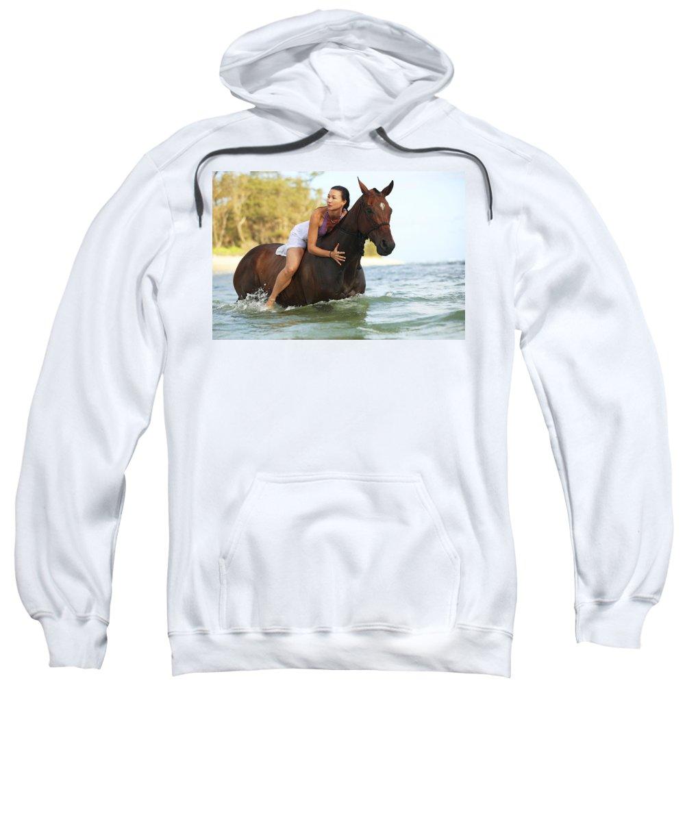 Activity Sweatshirt featuring the photograph Ocean Horseback Rider by Vince Cavataio