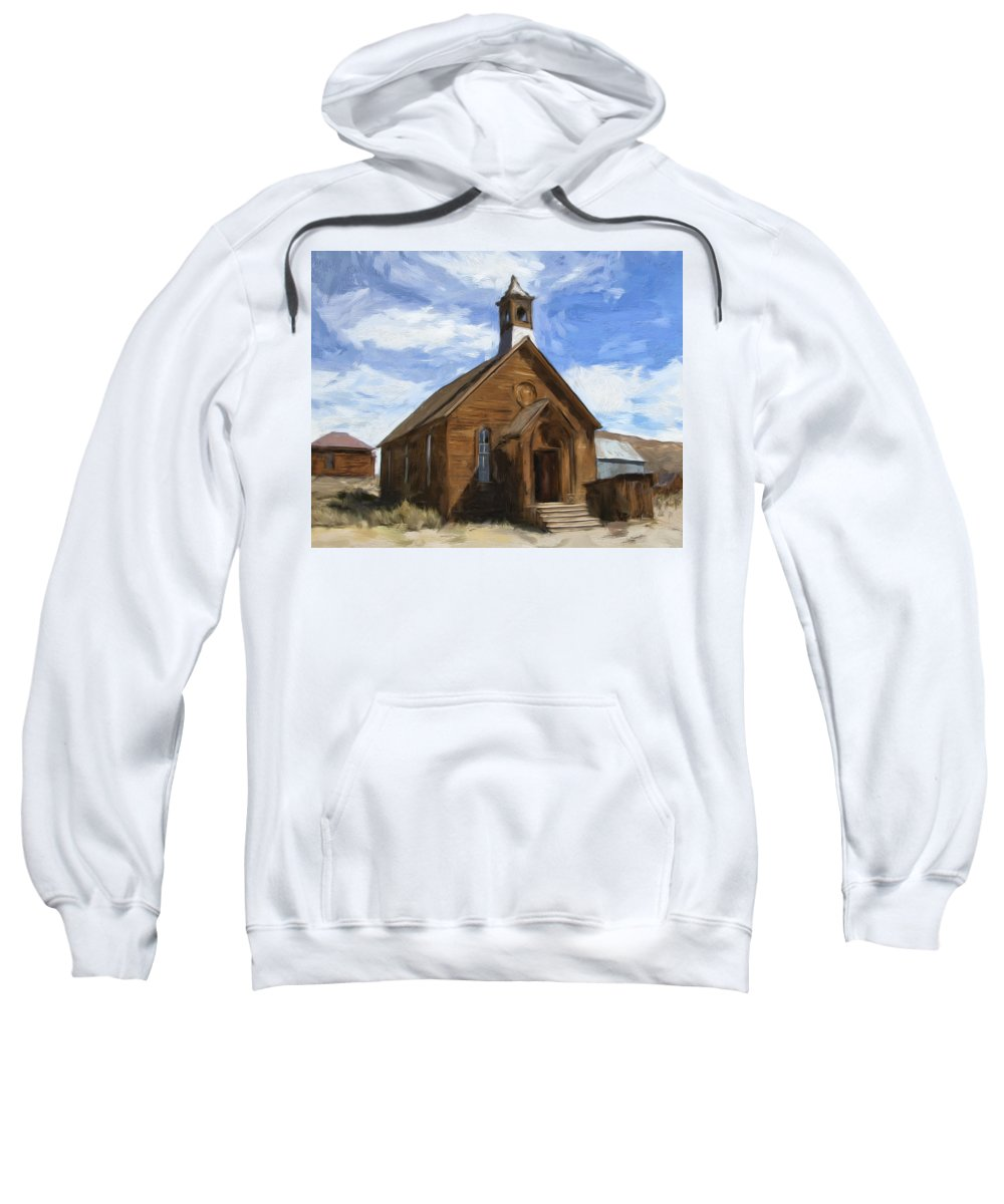 Church Sweatshirt featuring the painting Old Church At Bodie by Dominic Piperata
