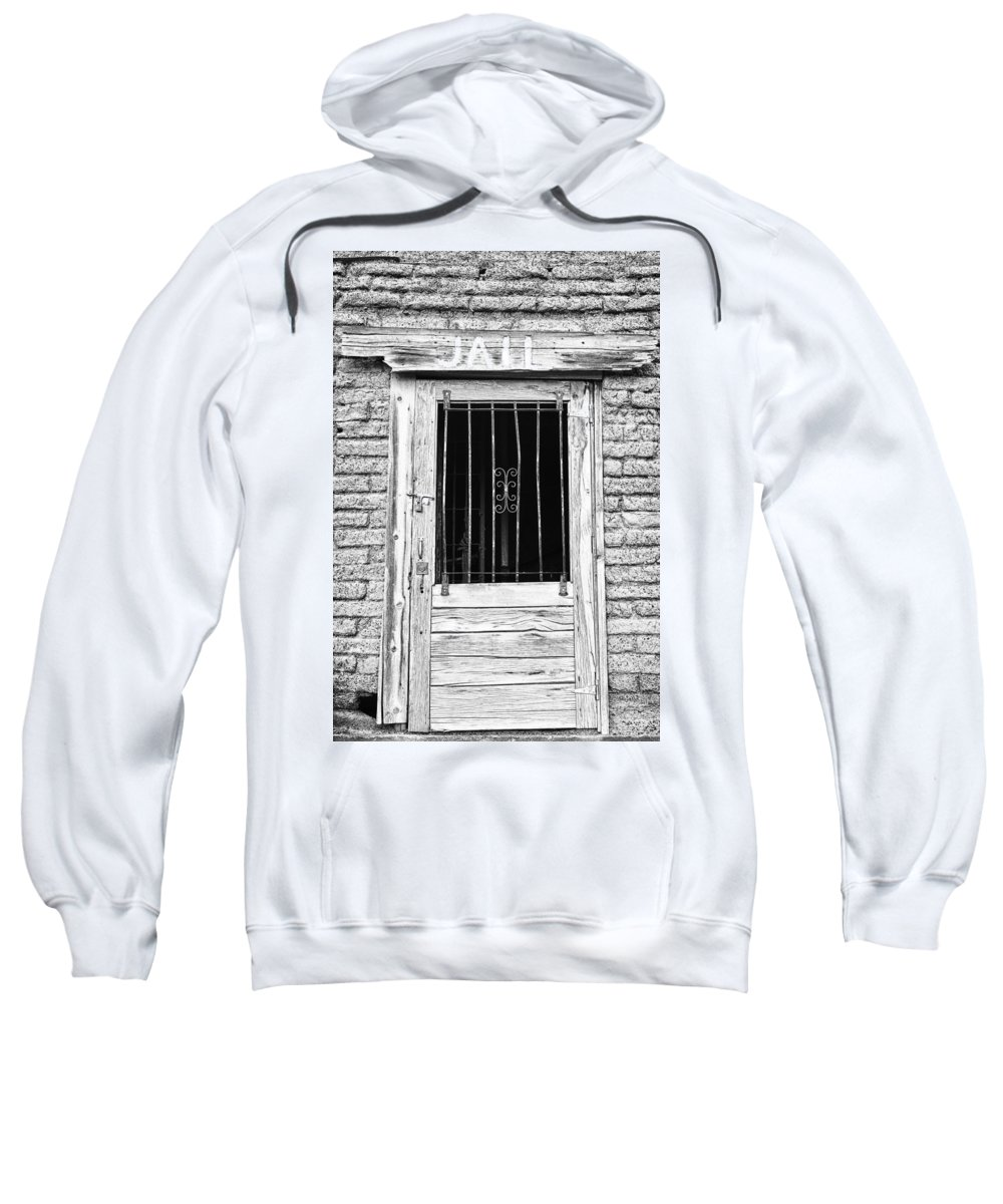 'old Jailhouse' Sweatshirt featuring the photograph Old Jailhouse Door In Black And White by James BO Insogna