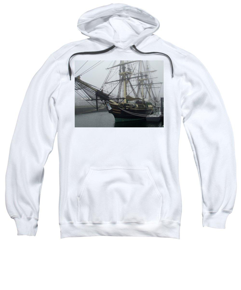 Replica Sweatshirt featuring the photograph Old Massachusetts Sailing Ship by Susan Wyman