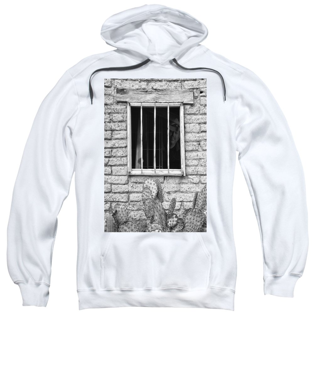 'old Jailhouse' Sweatshirt featuring the photograph Old Western Jailhouse Window In Black And White by James BO Insogna