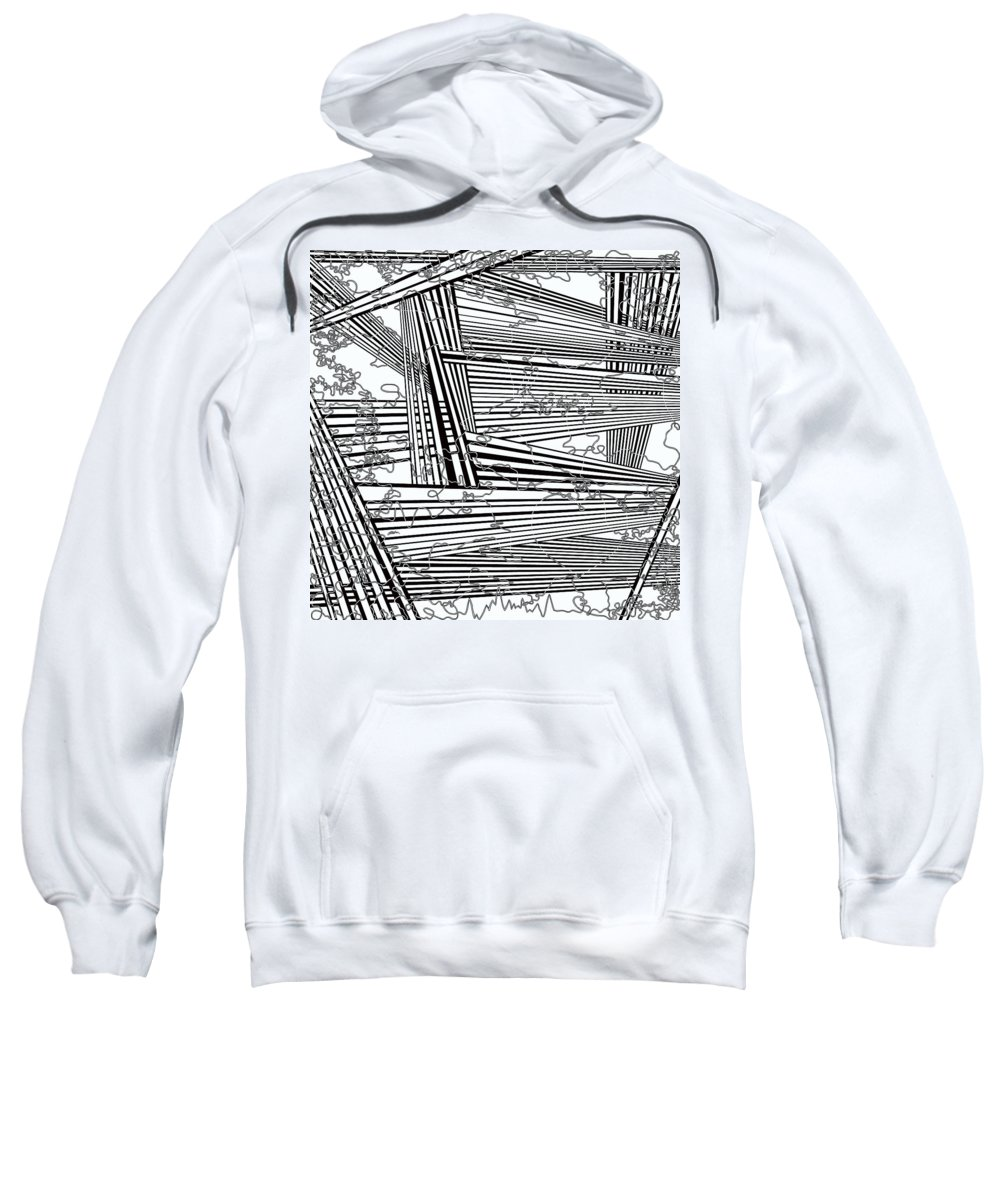 Black And White Sweatshirt featuring the painting One 22 by Douglas Christian Larsen