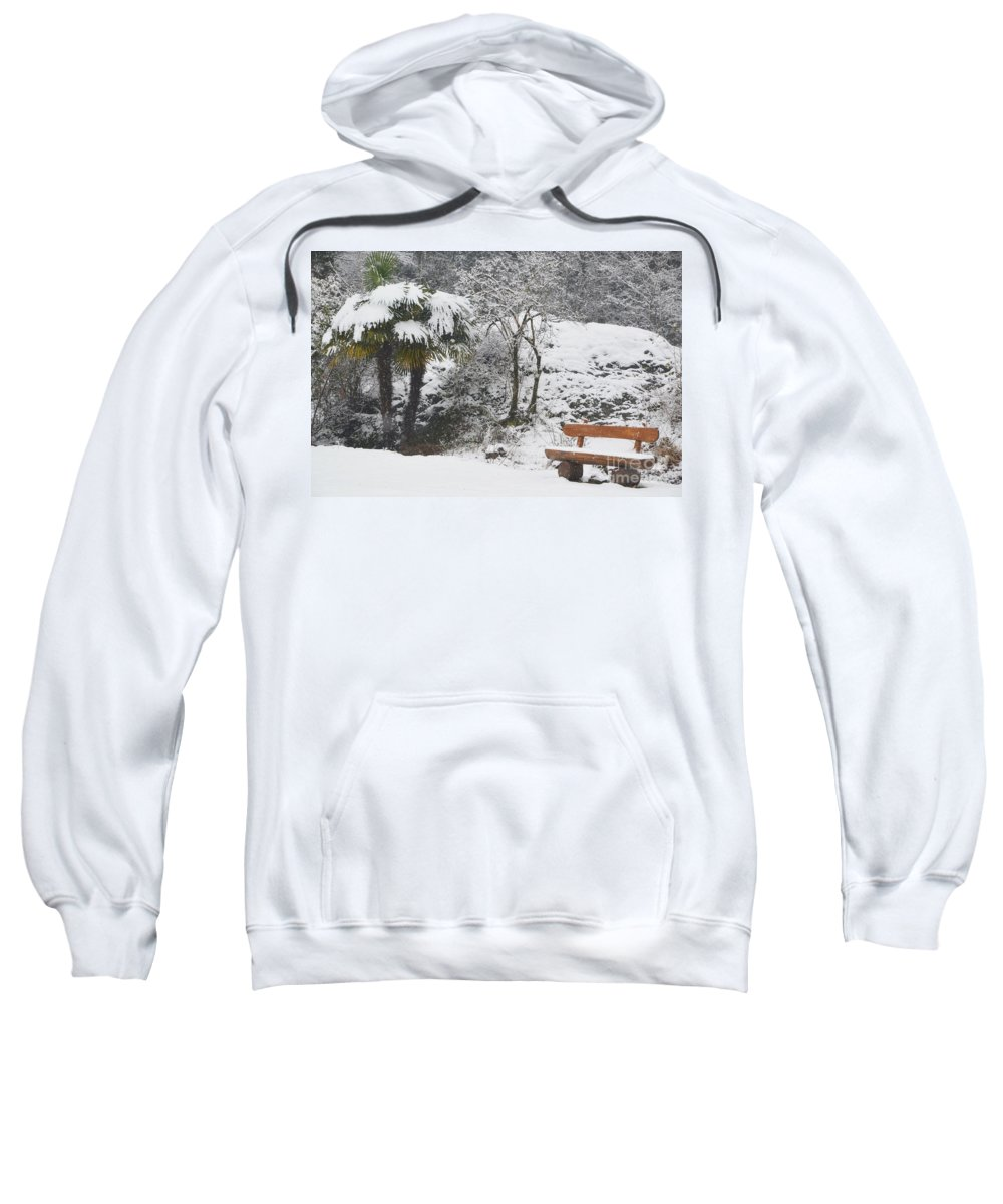 Bench Sweatshirt featuring the photograph Palm Tree And A Bench With Snow by Mats Silvan