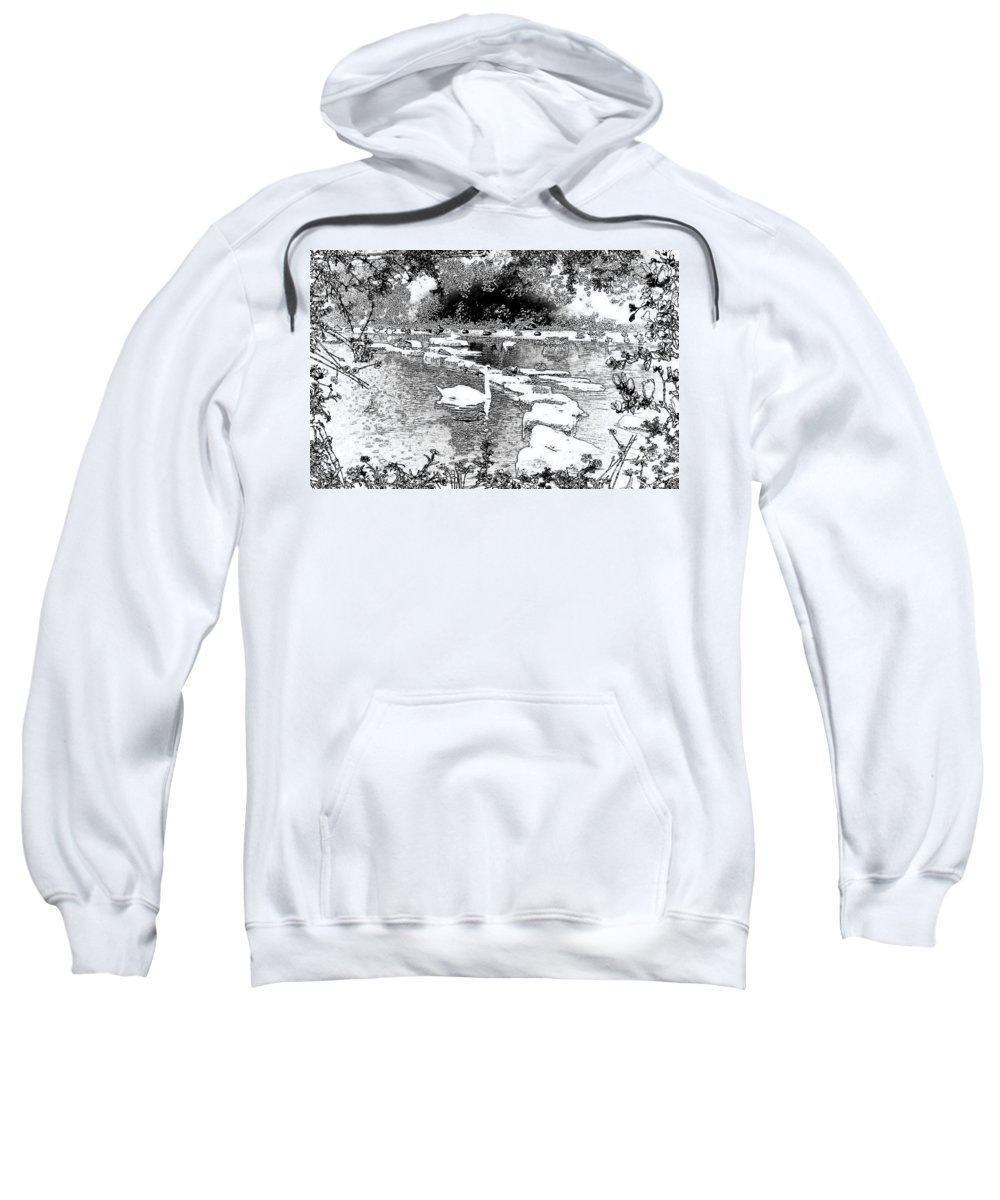 Park Sketch Sweatshirt featuring the digital art Park Sketch by Barbara Griffin
