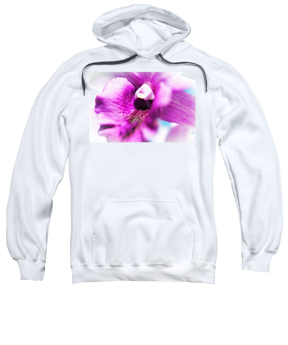 Flowers Sweatshirt featuring the photograph Passion For Flowers. Orchid Close Up by Jenny Rainbow