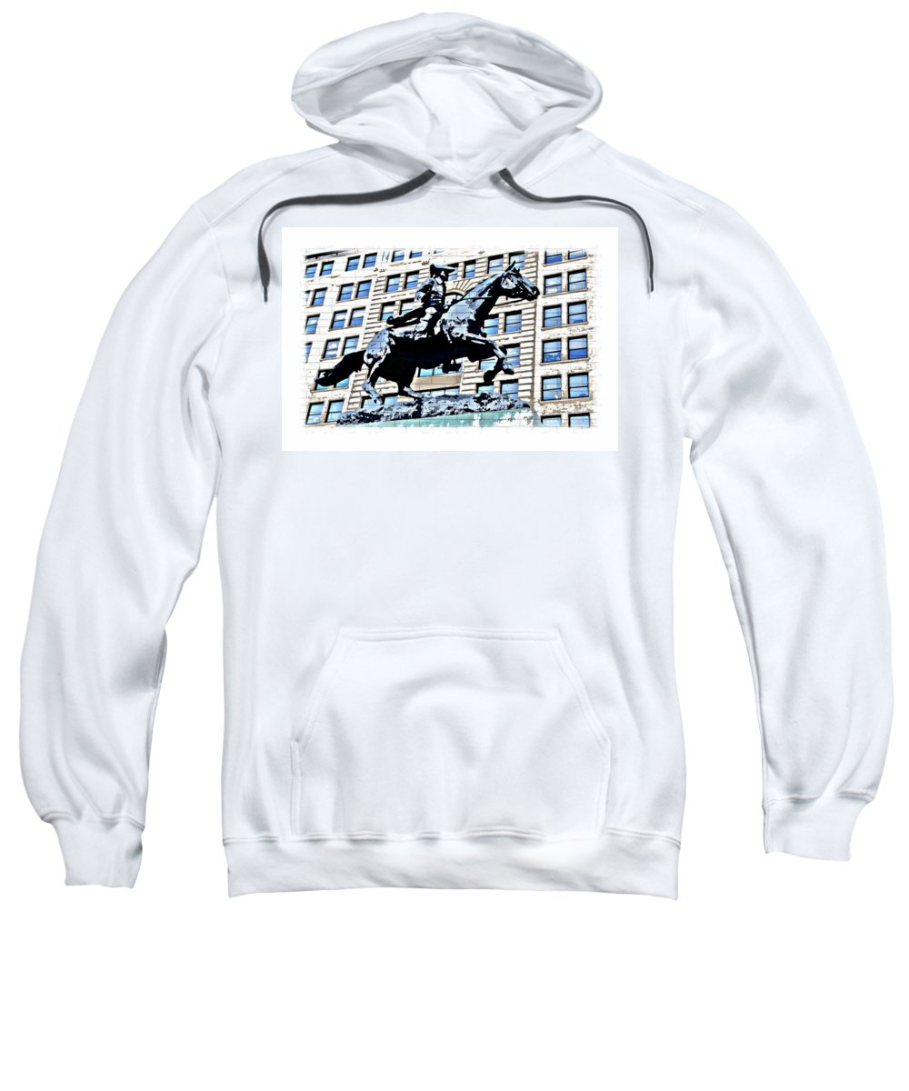 Paul Revere Statue Wilmington City Philadelphia Abstract Sweatshirt featuring the photograph Paul Revere Galloping Statue by Alice Gipson