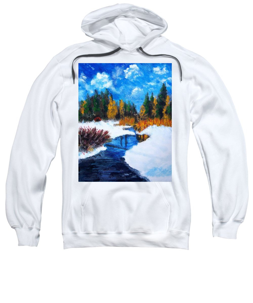 Landscape Sweatshirt featuring the painting Peaceful Creek 2012 by Robert Gross