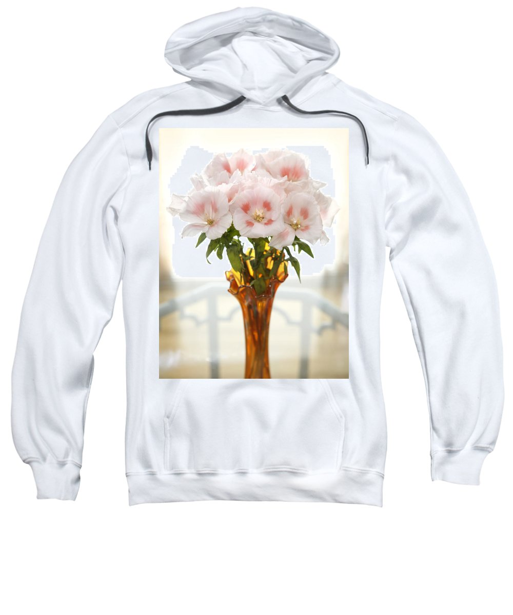Gladiola Sweatshirt featuring the photograph Peachy Gladiolas by Marilyn Hunt