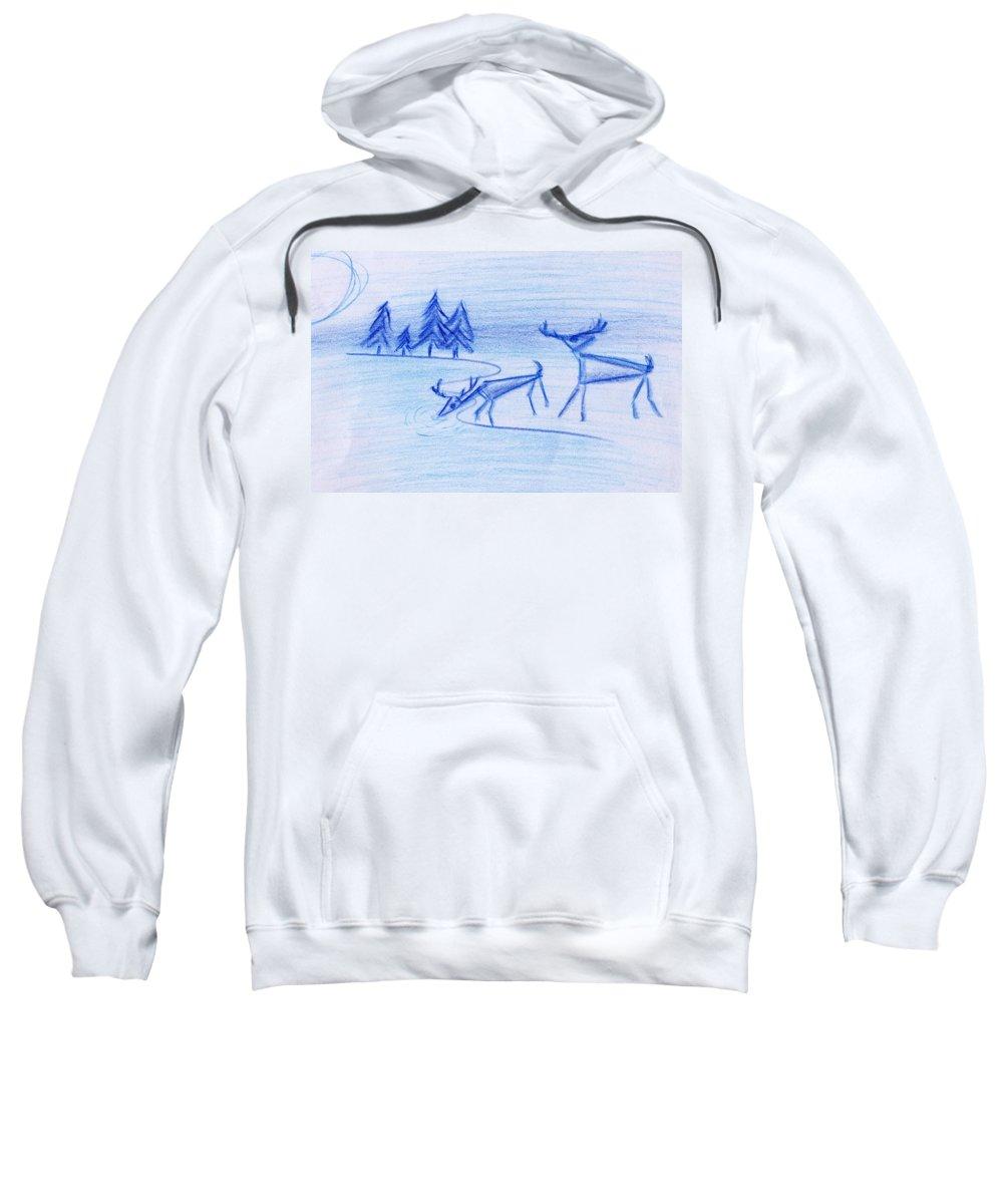 Animals Sweatshirt featuring the painting Prehistoric Scenic by John Bowers