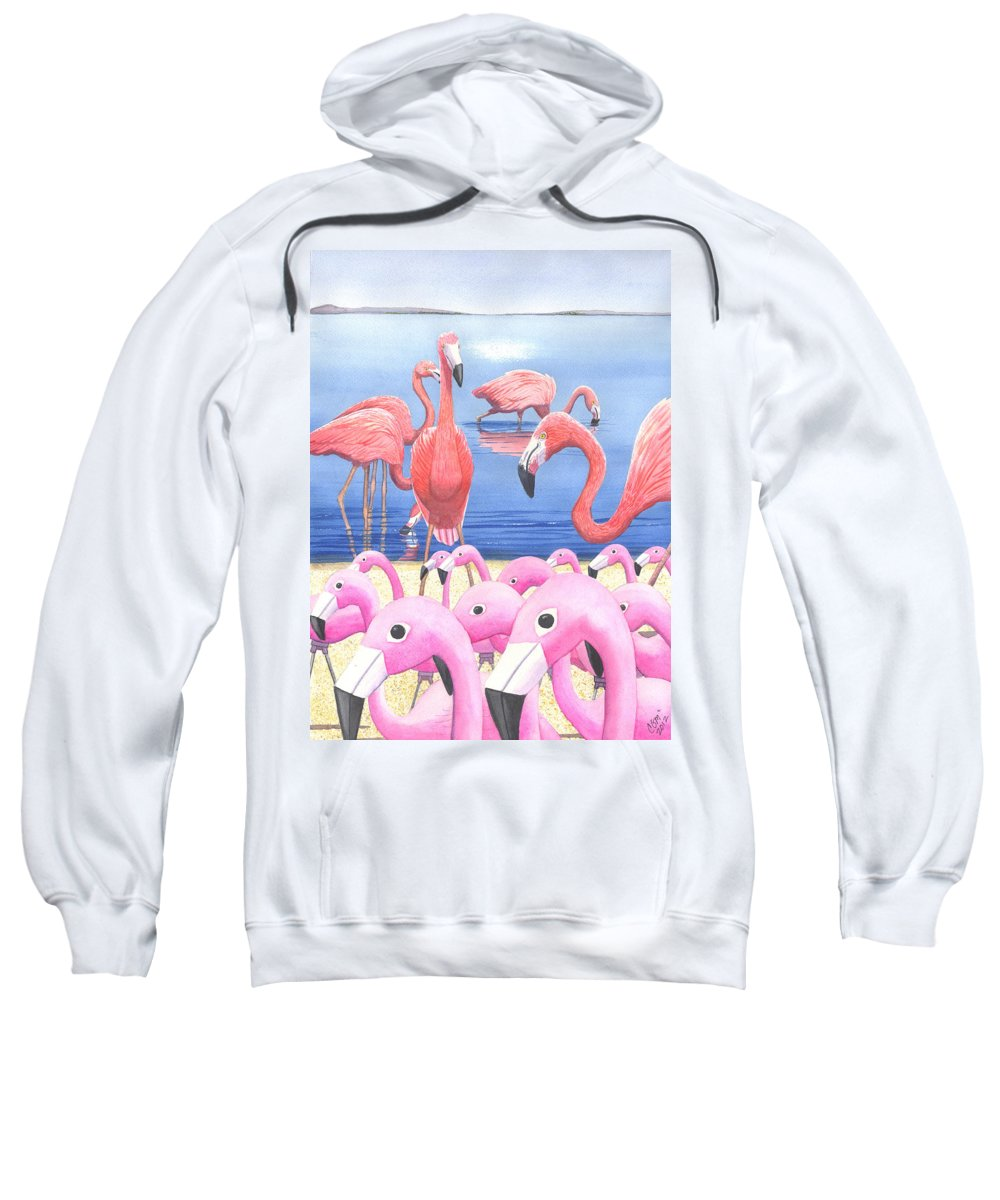 Flamingo Sweatshirt featuring the painting Preposterous by Catherine G McElroy