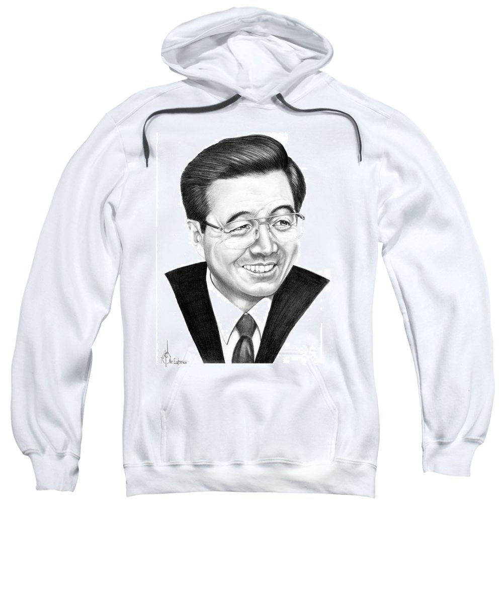 Drawing Sweatshirt featuring the drawing President Hu Jintao by Murphy Elliott