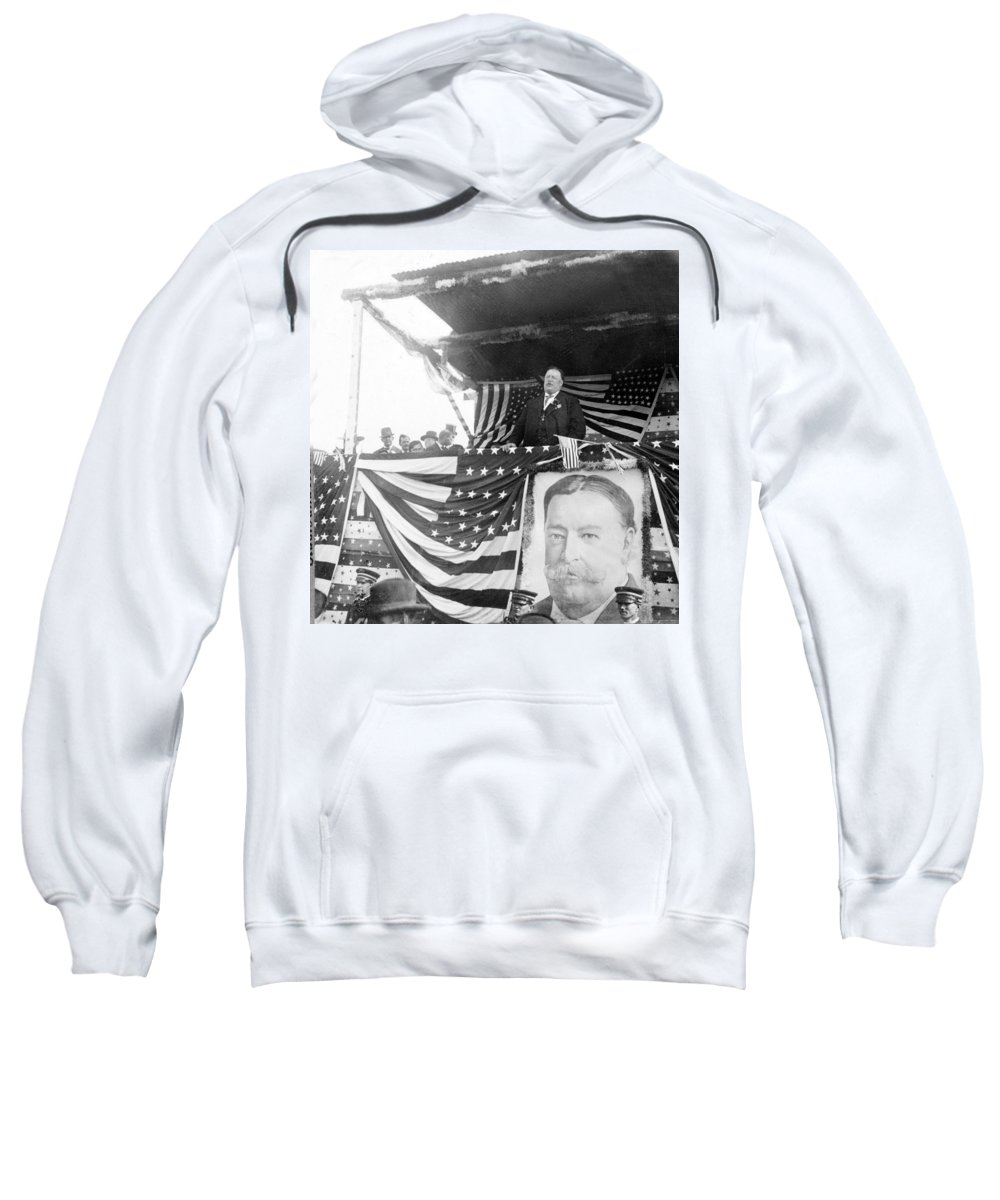 President Sweatshirt featuring the photograph President Taft Giving A Speech In Augusta - Georgia C 1910 by International Images