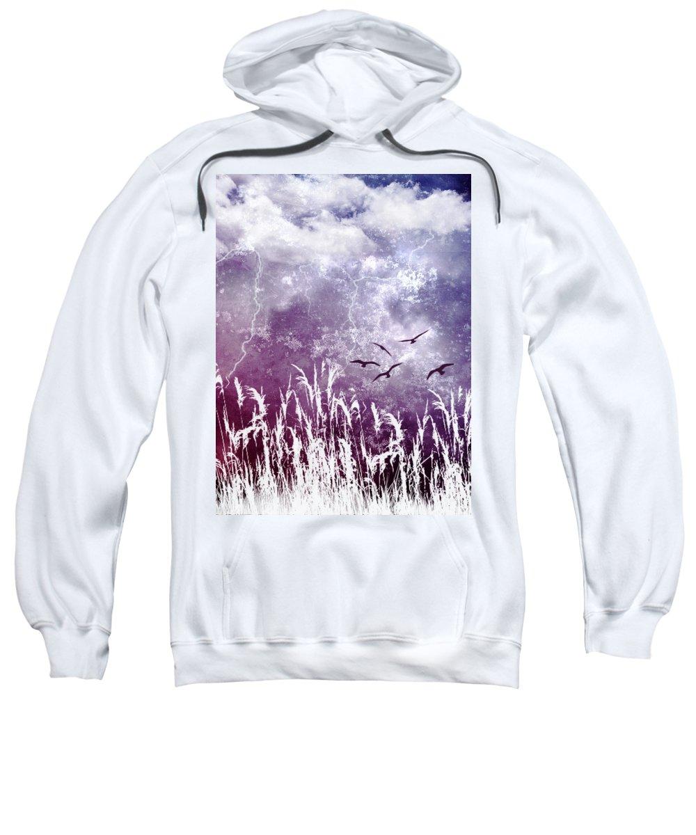 Sky Sweatshirt featuring the photograph Purple Skies by Ellen Heaverlo