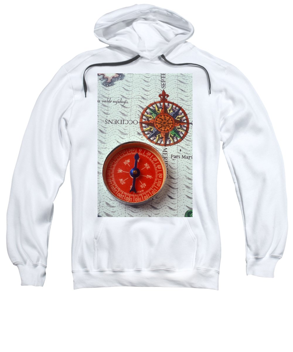 Red Compass Sweatshirt featuring the photograph Red Compass And Rose Compass by Garry Gay