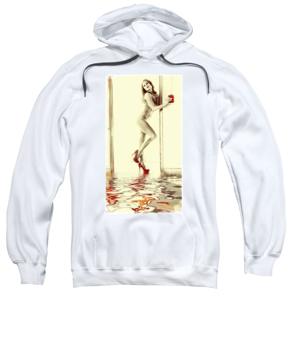Woman Sweatshirt featuring the digital art Red Hot Fire And Flood by Diane Dugas
