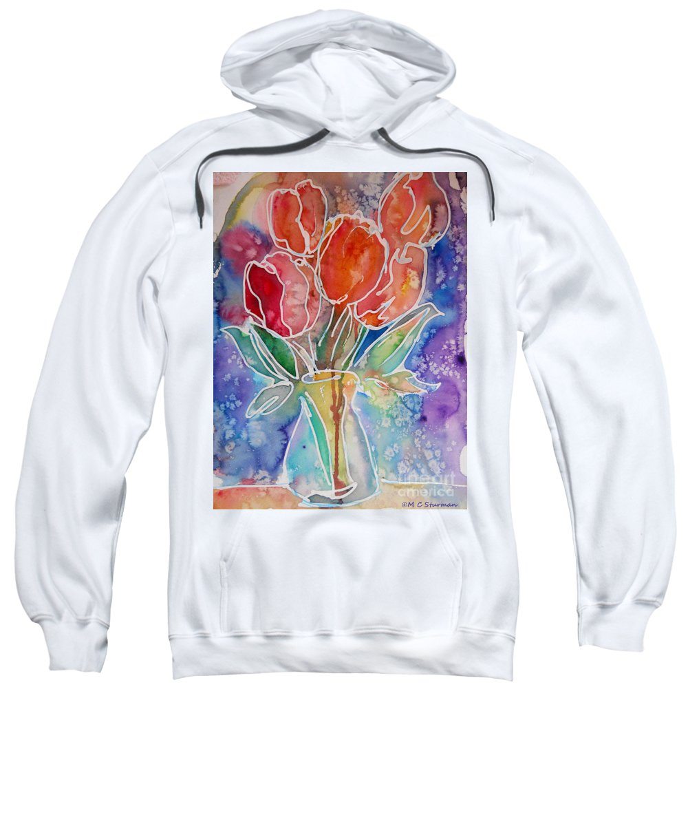 Tulips Sweatshirt featuring the mixed media Red Tulips by M c Sturman