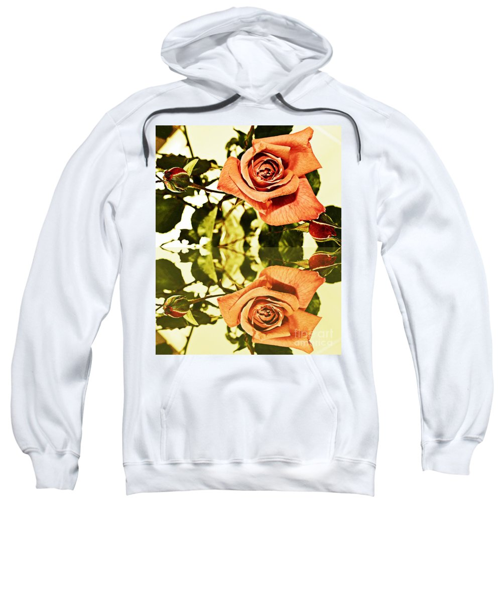 Reflection Of A Warm Rose Sweatshirt featuring the photograph Reflection Of A Warm Rose by Barbara Griffin