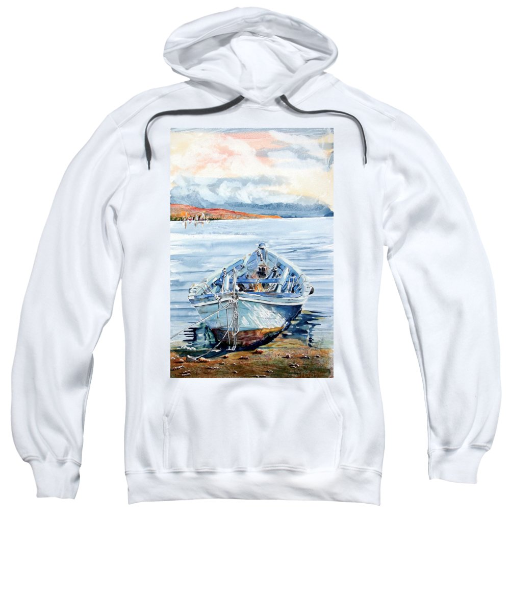 Boat Sweatshirt featuring the painting Remi In Barca by Giovanni Marco Sassu