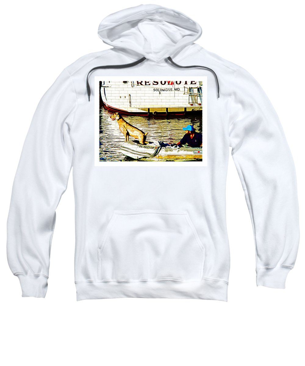 Resolute Dog Weimaraner Boat Water Animal Solomons Md Maryland Sweatshirt featuring the photograph Resolute by Alice Gipson