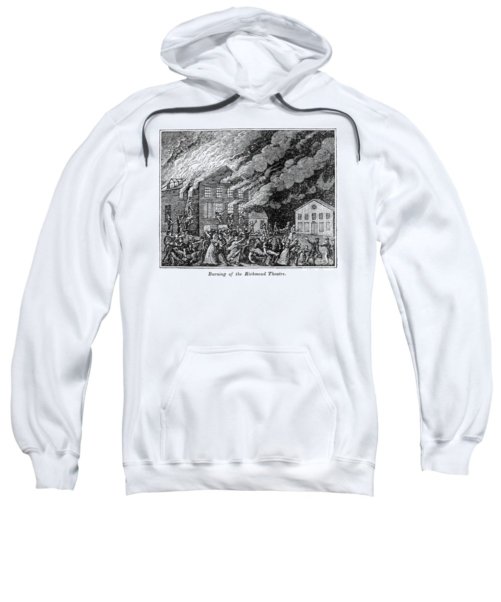 1811 Sweatshirt featuring the photograph Richmond: Theater Fire by Granger