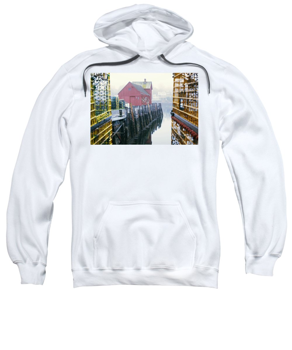 Atlantic Sweatshirt featuring the photograph Rockport Harbor And Cages by Jenna Szerlag