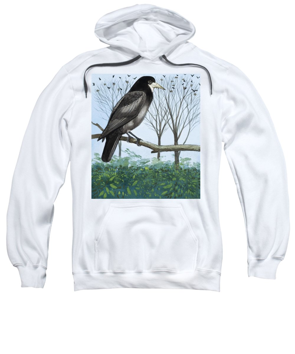 Rook; Rooks; Rookery; Nest; Tree; Flock; Ornithology Sweatshirt featuring the painting Rook by English School