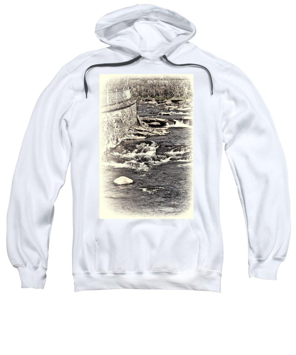 Rushing Water Sweatshirt featuring the photograph Rushing Water Cream by Steve Purnell
