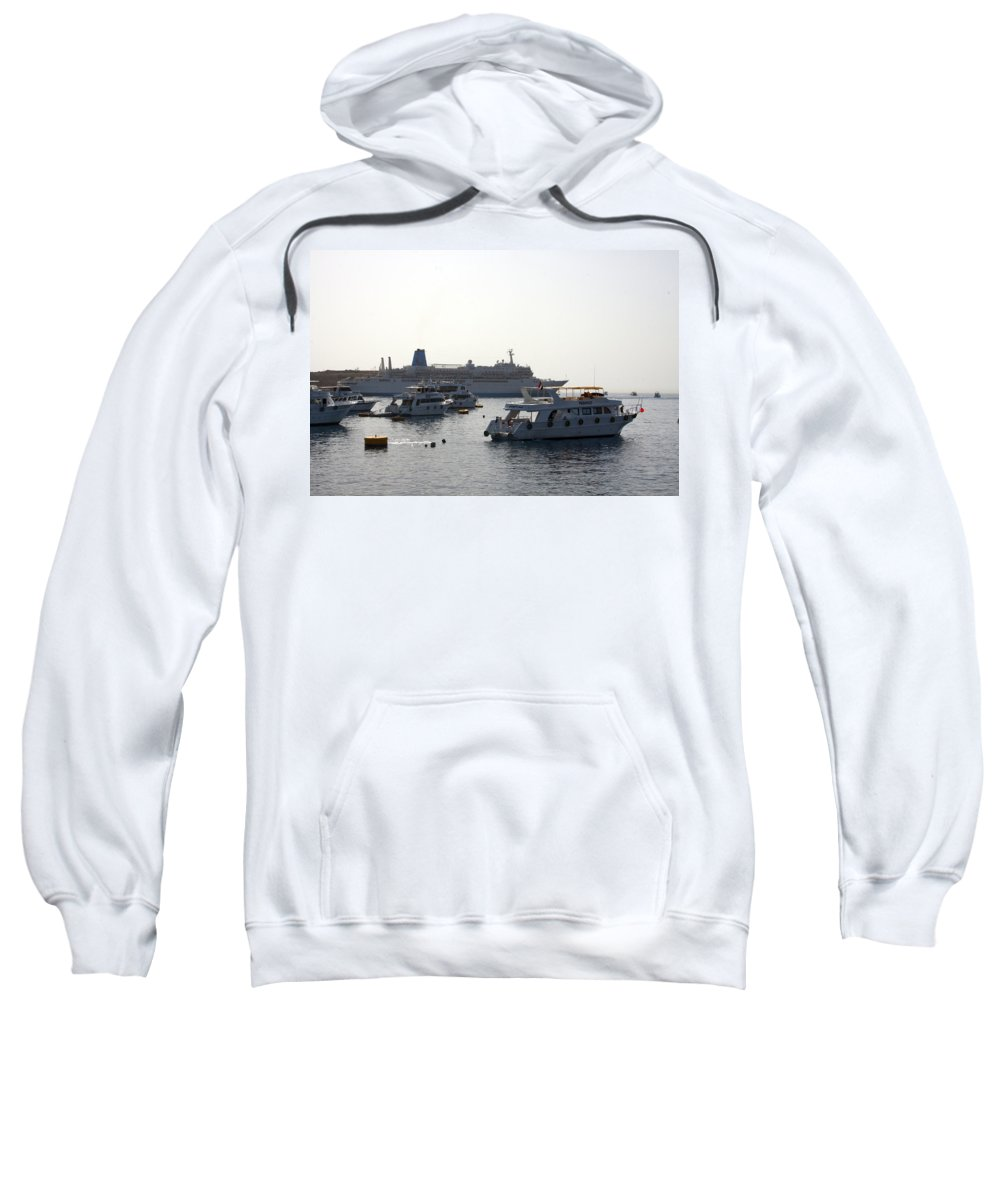 Boat Sweatshirt featuring the photograph Sailing Boats And A Large Yacht In The Harbour At Sharm El Sheikh by Ashish Agarwal