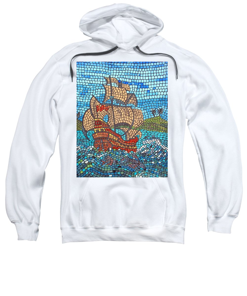Ocean Sweatshirt featuring the painting Sailing Home by Cynthia Amaral