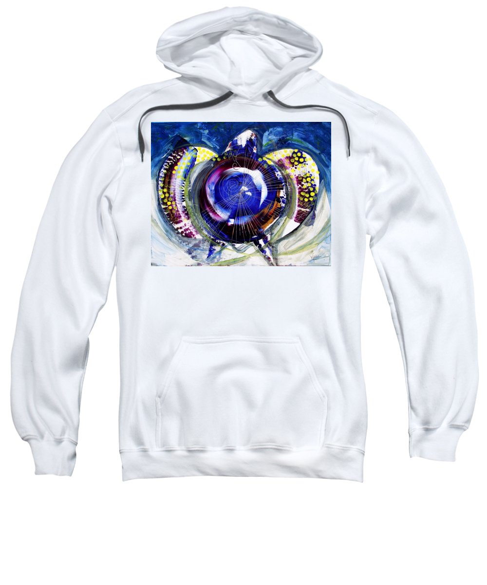 Sea Turtle Sweatshirt featuring the painting Sea Turtle Ethereal by J Vincent Scarpace