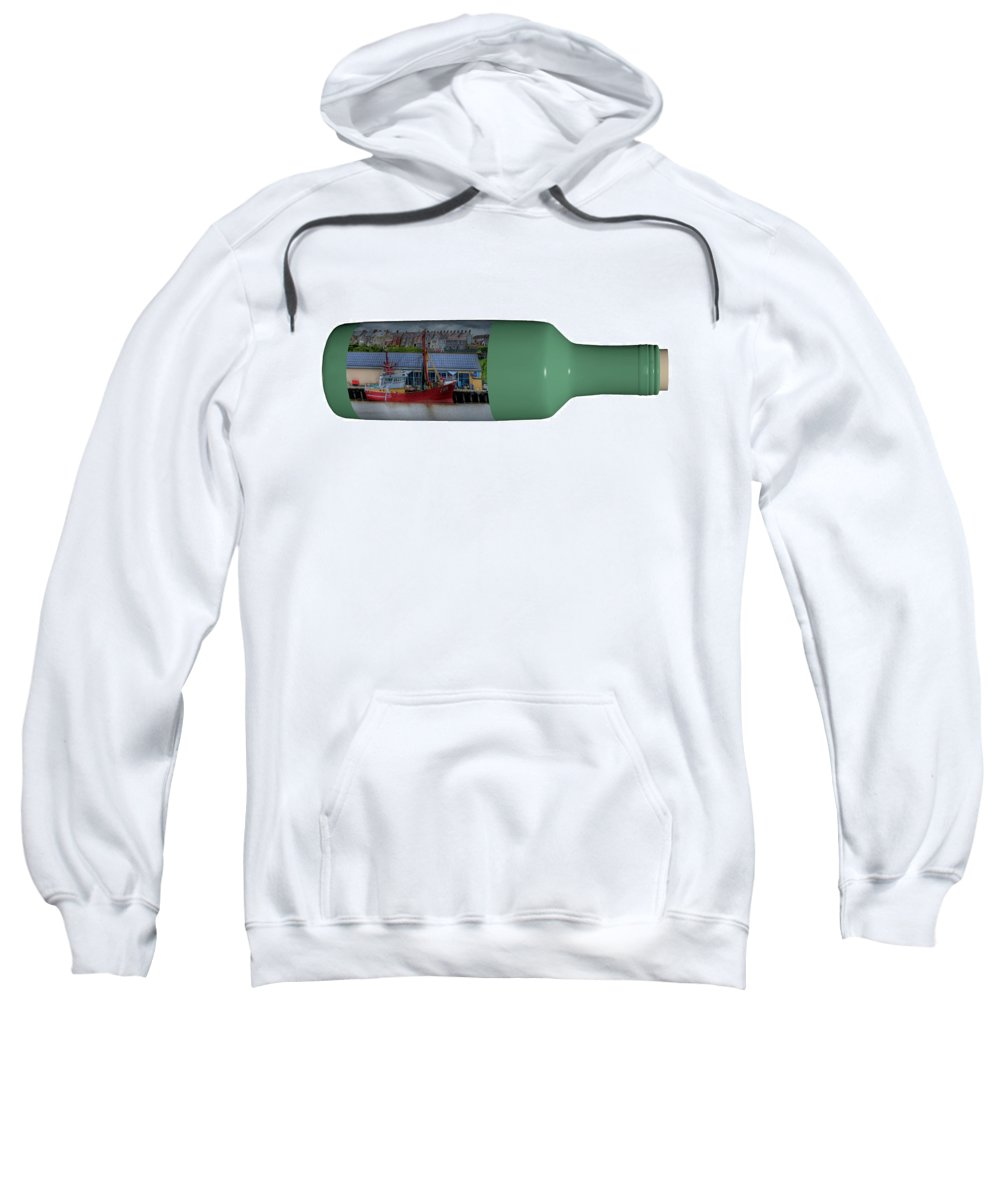 3d Sweatshirt featuring the photograph Ship On A Bottle With White by Steve Purnell