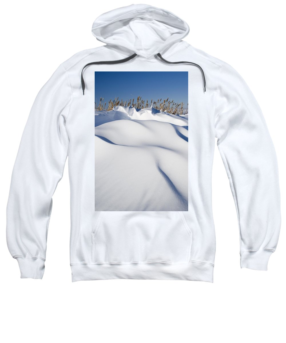 Blue Sky Sweatshirt featuring the photograph Snow Drifts On A Hill by Philippe Widling