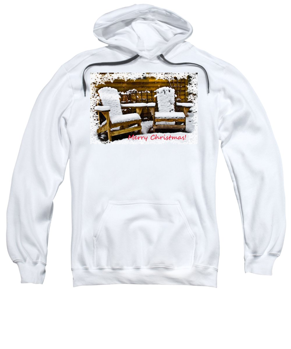 Appalachia Sweatshirt featuring the photograph Snowy Coffee Holiday Card by Debra and Dave Vanderlaan