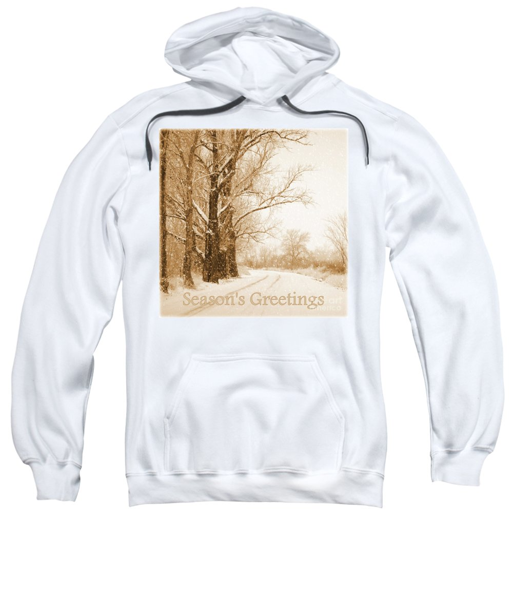 Snowy Holiday Scene Sweatshirt featuring the photograph Soft Sepia Season's Greetings by Carol Groenen