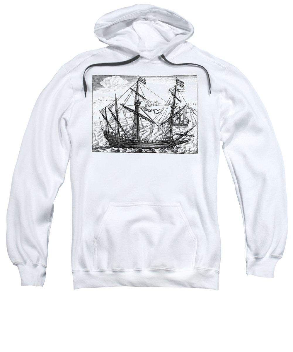 1595 Sweatshirt featuring the photograph Spanish Ship, C1595 by Granger