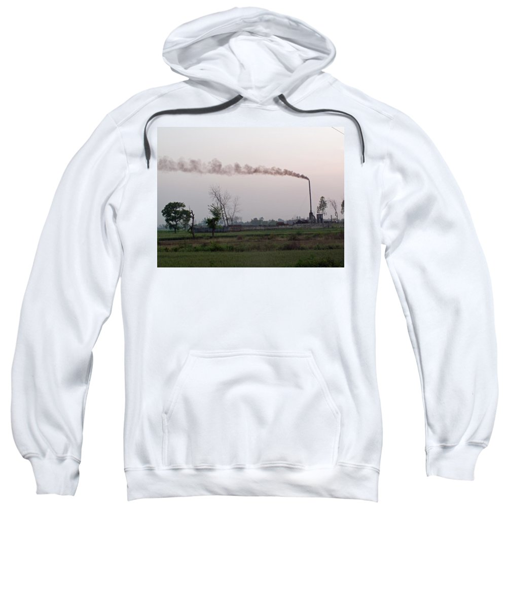 Smoke Sweatshirt featuring the photograph Spewing Smoke And Pollution Into A Green Rural Environment by Ashish Agarwal
