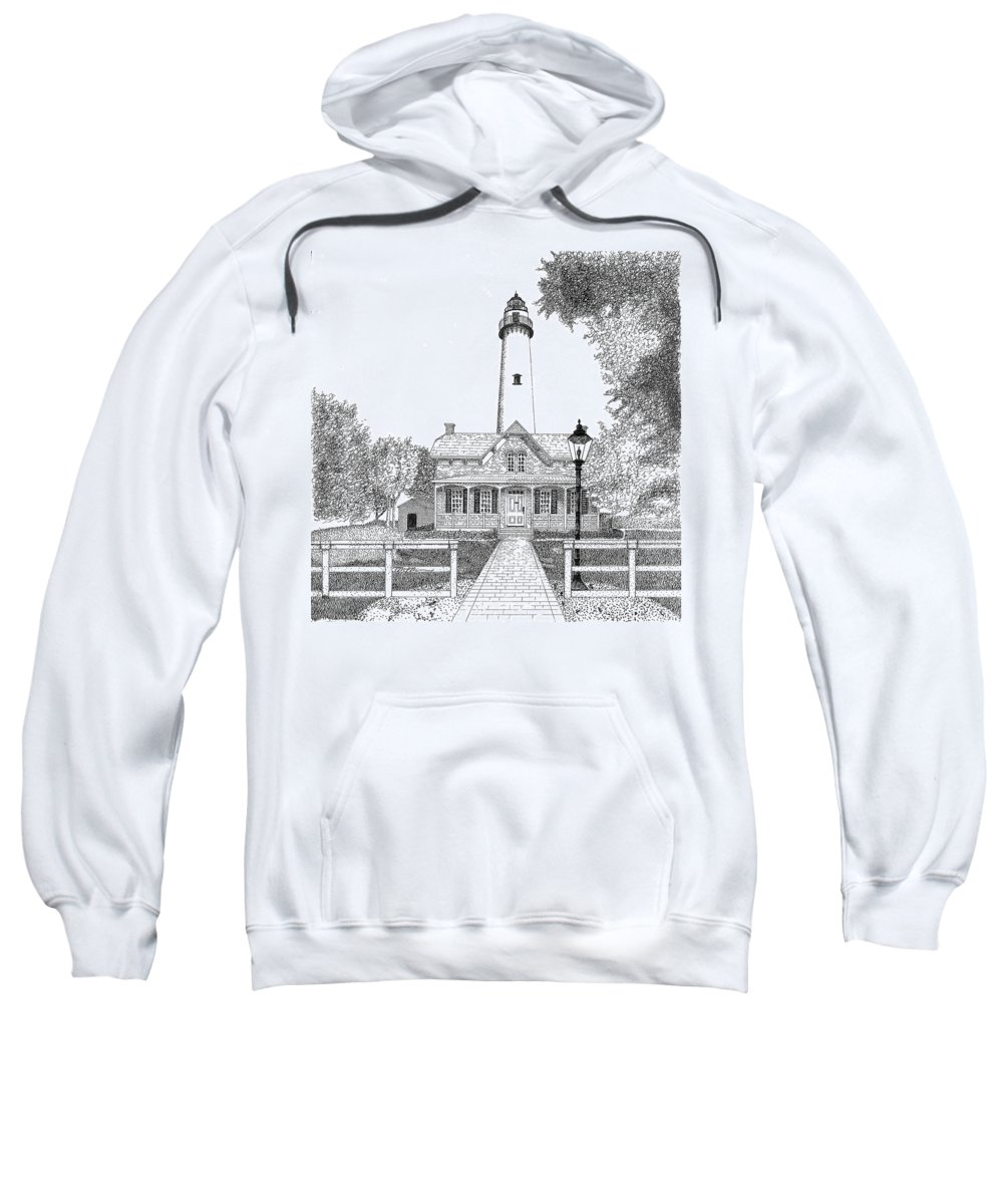 Lighthouse Sweatshirt featuring the drawing St. Simons Lighthouse by Tim Murray