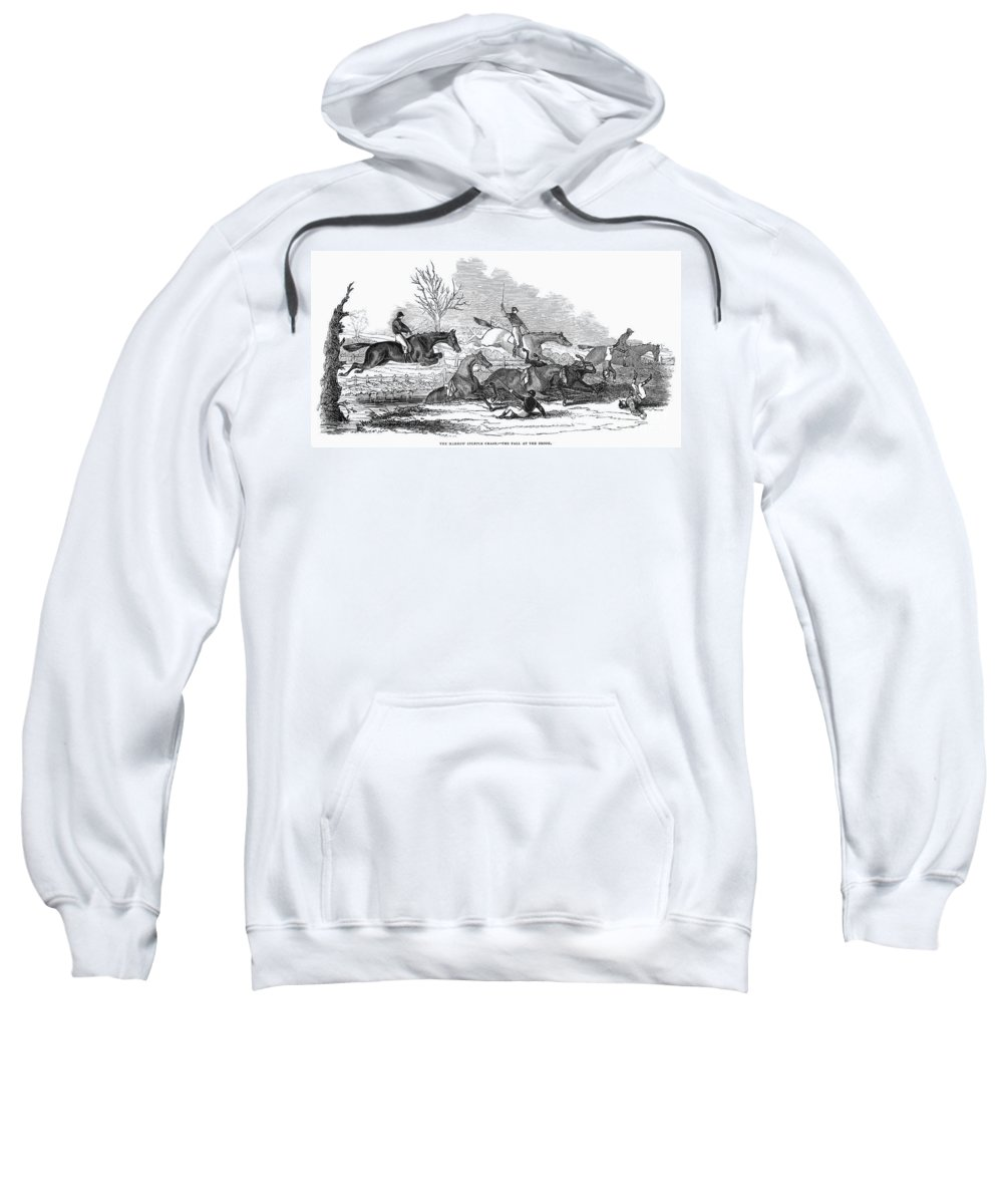 1845 Sweatshirt featuring the photograph Steeplechase, 1845 by Granger