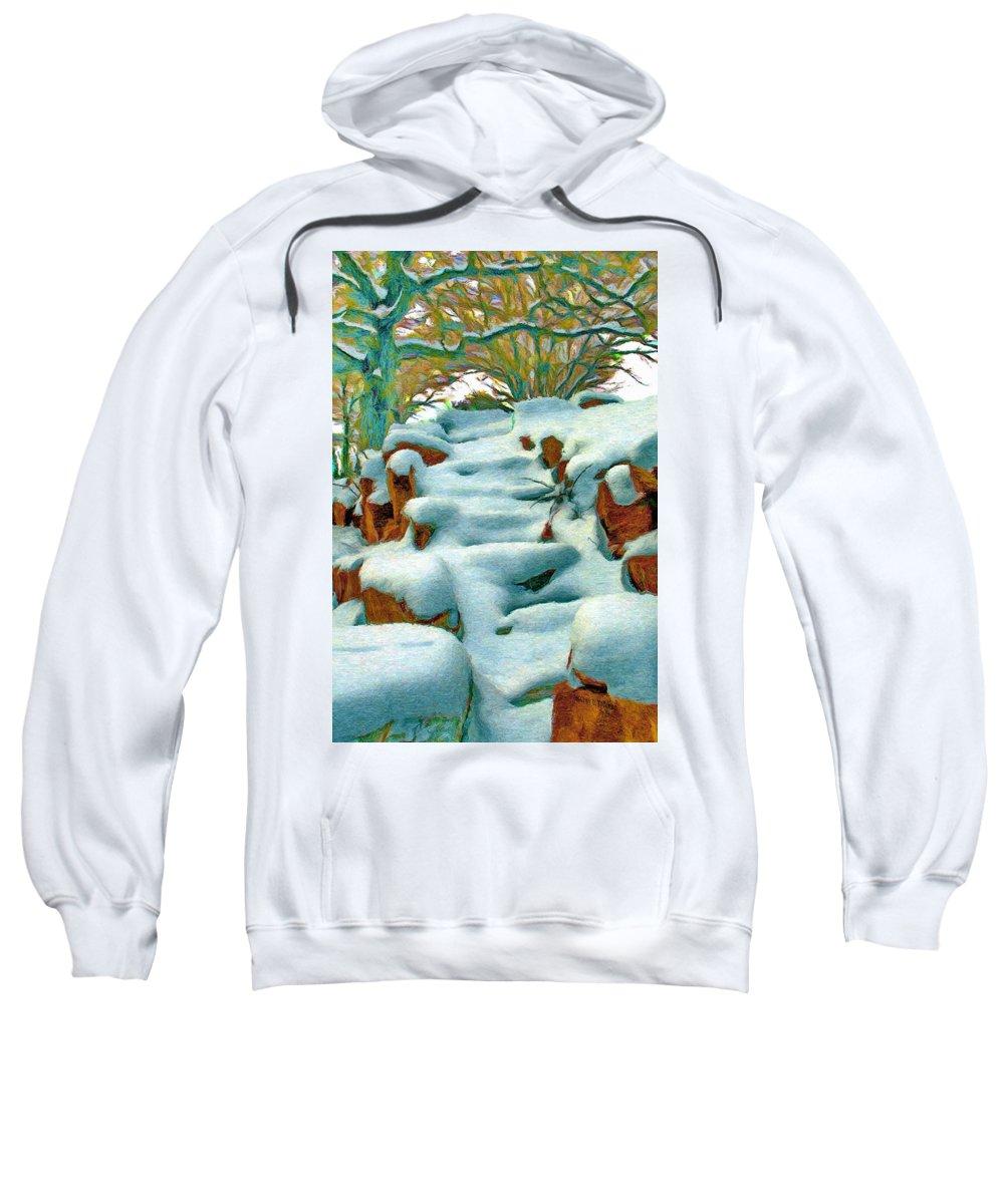 Stone Sweatshirt featuring the painting Stone Steps In Winter by Jeffrey Kolker
