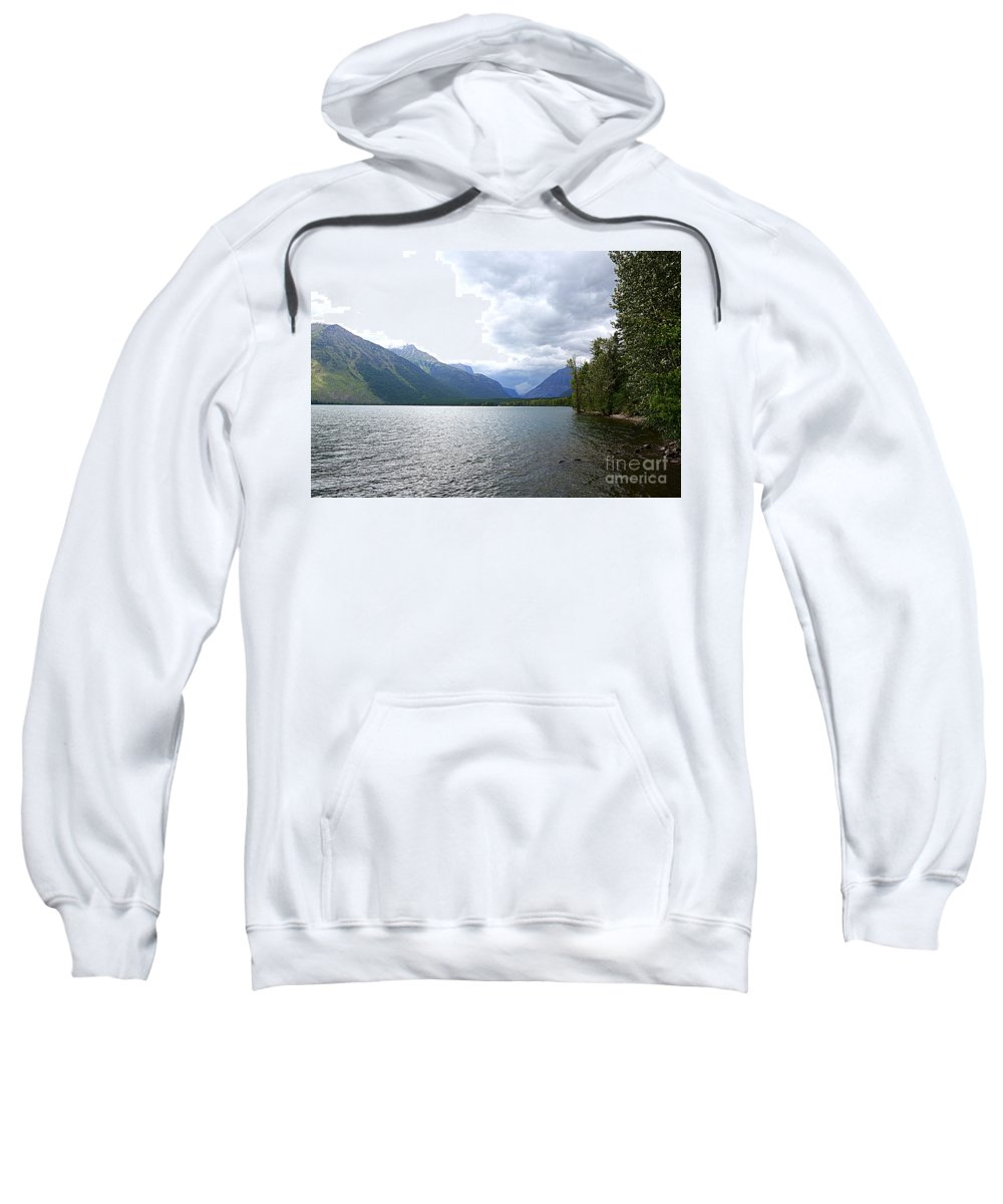 Lake Sweatshirt featuring the photograph Storm Clouds Over Lake Mcdonald by Carol Groenen