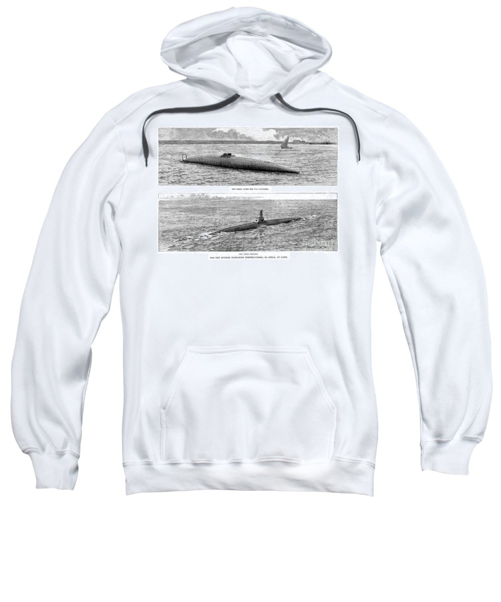 1890 Sweatshirt featuring the photograph Submarine Launch, 1890 by Granger