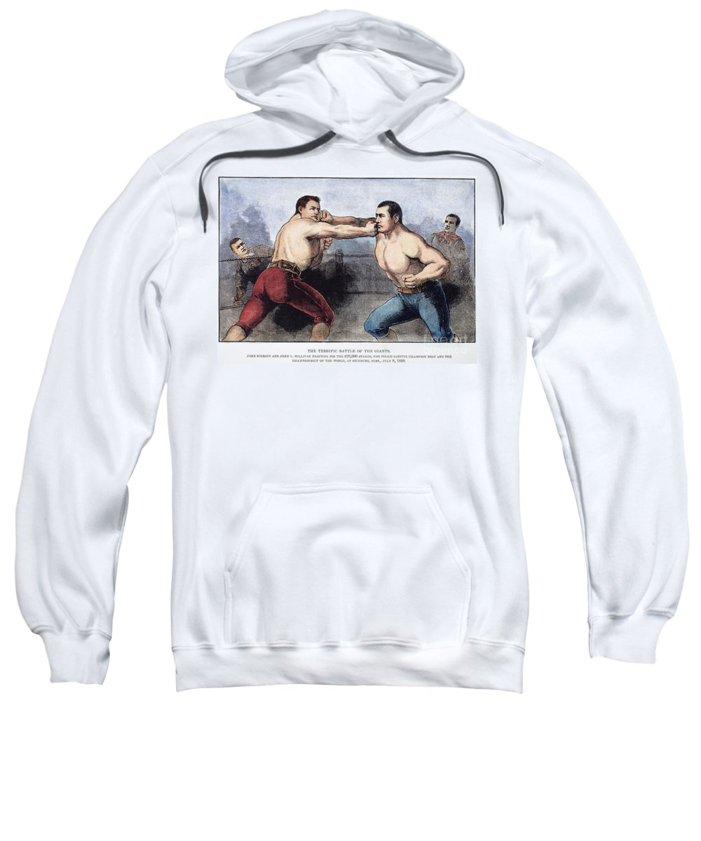 1889 Sweatshirt featuring the photograph Sullivan & Kilrain Fight by Granger
