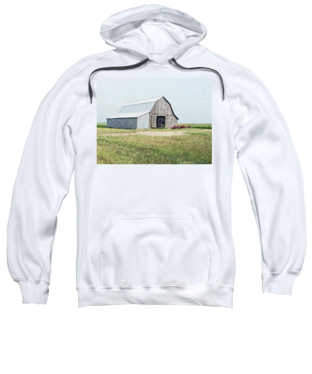 Arcitecture Sweatshirt featuring the digital art Summer Barn by Debbie Portwood
