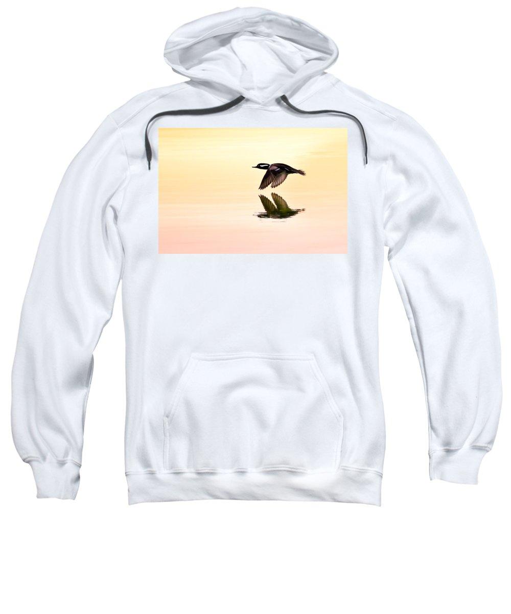 Hooded Merganser Sweatshirt featuring the photograph Sunrise Flight by Janet Fikar