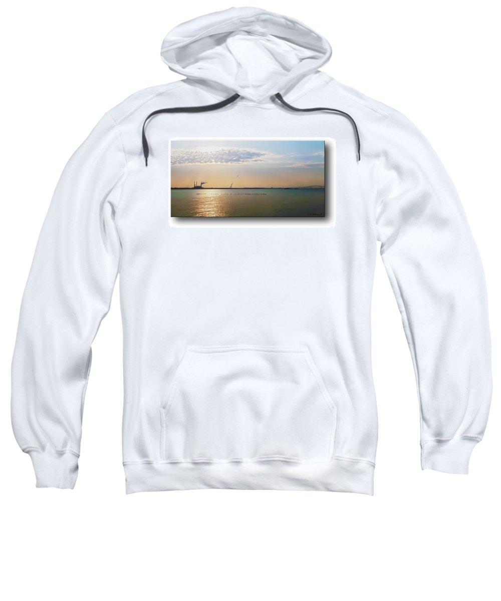 2d Sweatshirt featuring the photograph Sunset Geese by Brian Wallace
