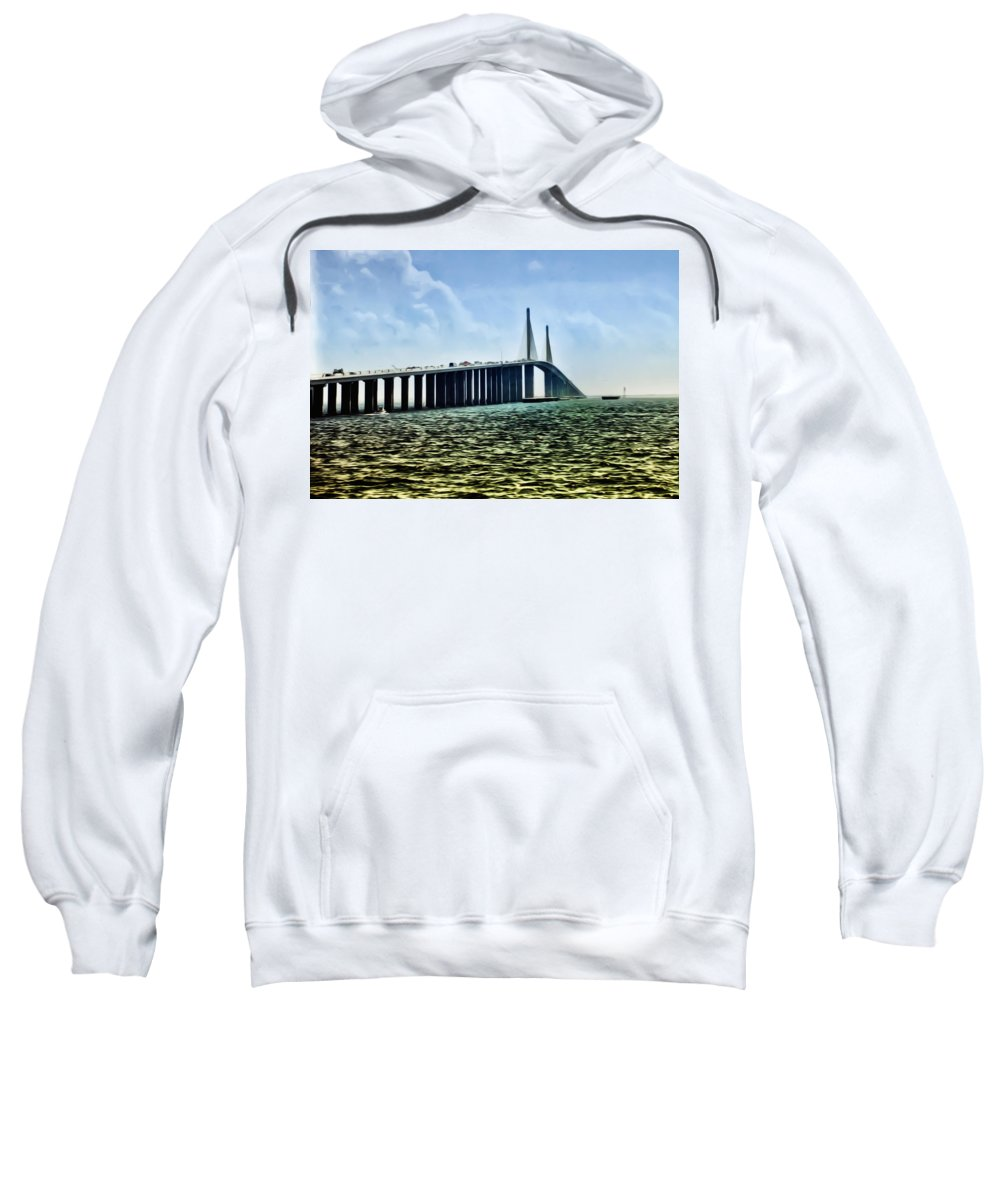 Sunshine Skyway Bridge - Tampa Bay Sweatshirt featuring the photograph Sunshine Skyway Bridge - Tampa Bay by Bill Cannon