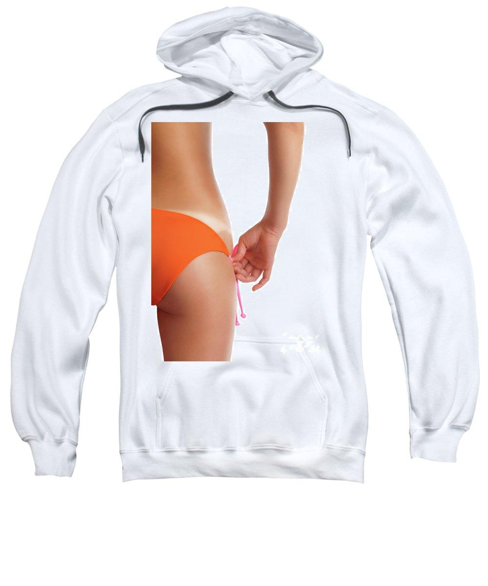 Suntan Sweatshirt featuring the photograph Suntanned Woman Showing Tan Lines by Oleksiy Maksymenko