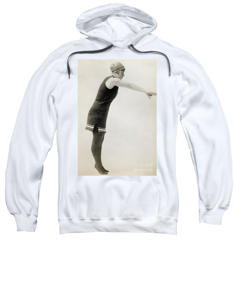 1900 Sweatshirt featuring the photograph Swimmer, C1900 by Granger